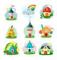 fantasy fairy houses set cozy hut made pear vector image