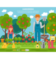 Farmer family concept colorful poster with growing vector image vector image