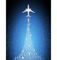 Festive silhouette aircraft fly over dark blue sky vector image vector image