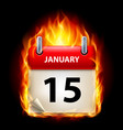 fifteenth january in calendar burning icon on vector image vector image