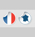 france sticker with flag and map label round tag vector image
