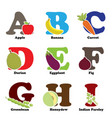 fruit and vegetable alphabet vector image vector image