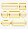 glossy golden vintage frame or labels collection vector image