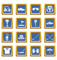 golf icons set blue square vector image vector image