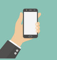hand holding smartphone flat vector image vector image