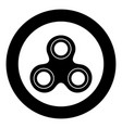 hand spinner black icon in circle isolated vector image