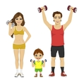 happy family doing fitness sport with dumbbells vector image vector image