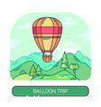 hot air flying balloon travel and trip vector image