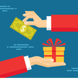 Human Hands with Dollar Money and Present Gift vector image vector image