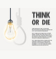 incandescent light bulb with hanging rope vector image