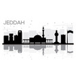 jeddah city skyline black and white silhouette vector image vector image