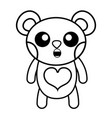 line surprised bear cute wild animal vector image