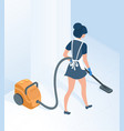maid in uniform vacuuming floor in hallway room vector image vector image