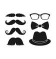 moustache glasses bowtie and hat vector image