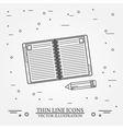 Notebook and pencil thin line designNotebook and p vector image vector image