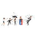 people and flying dollars money earning concept vector image