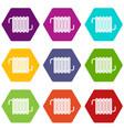 radiator icon set color hexahedron vector image vector image