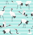 seamless pattern with japanese cranes background vector image vector image