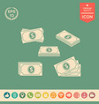 set of money banknotes stack icon vector image