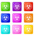 sign of biological threat icons 9 set vector image vector image