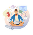 student use laptop for distance learning vector image