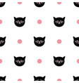 tile pattern with cats and polka dots on white vector image