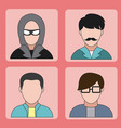 user and hacker icons vector image