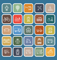 vehicle line flat icons on blue background vector image vector image