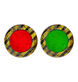 Vekton dirty old rusty red and green round button vector image
