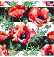 Watercolor poppy flower pattern vector image