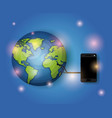 world planet with smartphone connection vector image