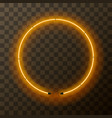 yellow neon round frame template on transparent vector image vector image