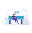 young woman sitting on bench with tablet in hands vector image vector image