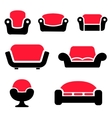 sofas and couches icons set vector image