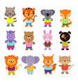 cute cartoon baby animals set vector image