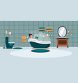 a woman washes in the bathroom with foam bathroom vector image vector image