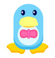 adorable penguin in bowtie isolated vector image vector image