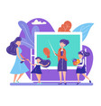 back to school concept with teacher stand at vector image