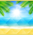 beach and tropical sea with palmtree leaves vector image vector image