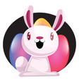 bunny in front of colorful easter eggs web on vector image