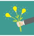 Businessman hand holding idea light bulb flowers vector image vector image