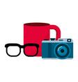 camera mug and glasses design vector image vector image