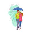 cartoon couple walking under rain umbrella vector image vector image
