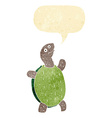 cartoon happy turtle with speech bubble vector image vector image