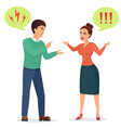 cartoon man and woman quarreling angry couple vector image vector image
