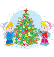 Children and Christmas tree vector image vector image