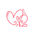 couple monoline red valentines day hand vector image vector image