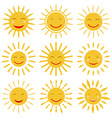 Cute hand drawn sun icons with smile vector image vector image