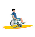 disabled surfer wheelchair on surfboard on white vector image vector image