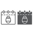 easter calendar line and glyph icon date and vector image vector image